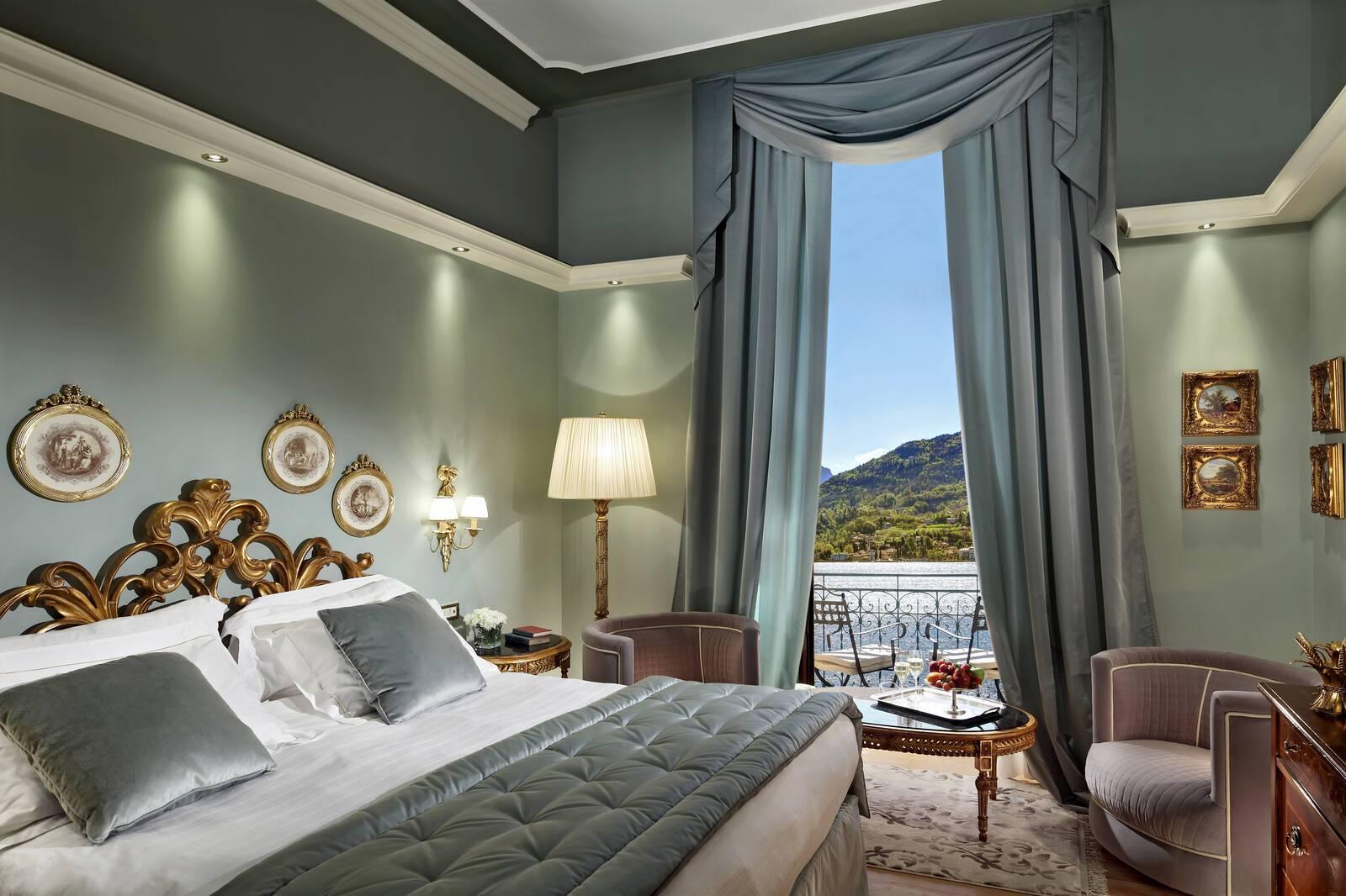 Grand Hotel Tremezzo Lac Come view prestige chambre Lit italie Roberto Bonardi