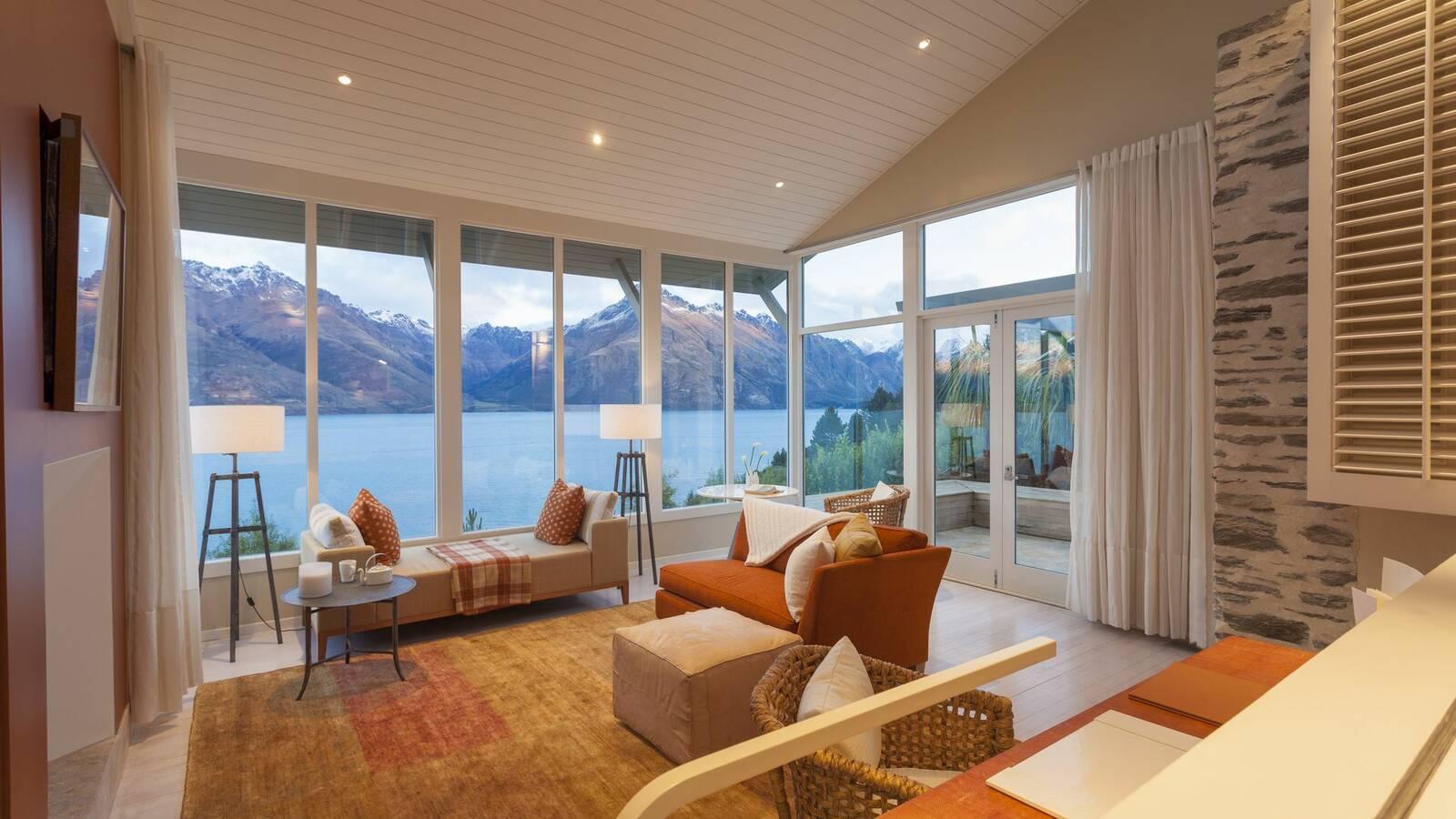 Queenstown Matakauri Lodge Salon Vue Montagne Nouvelle Zelande Miz Watanabe