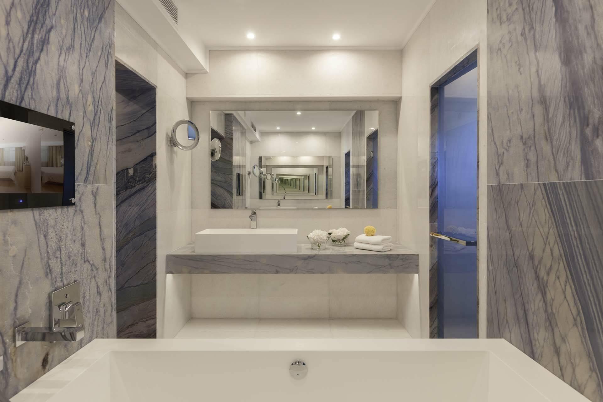 Elounda Mare Crete villa palace bathroom marbre