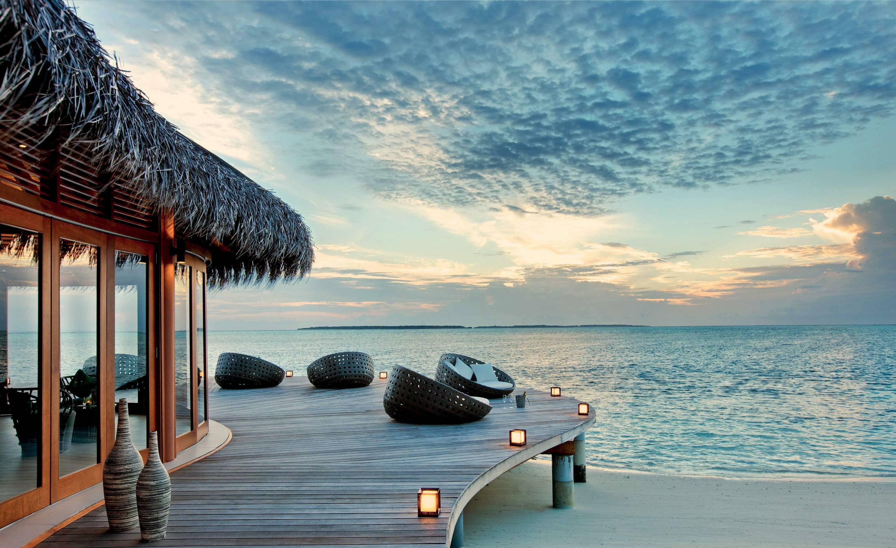 Hideaway Beach Bar Grill Meeru Terrasse Maldives