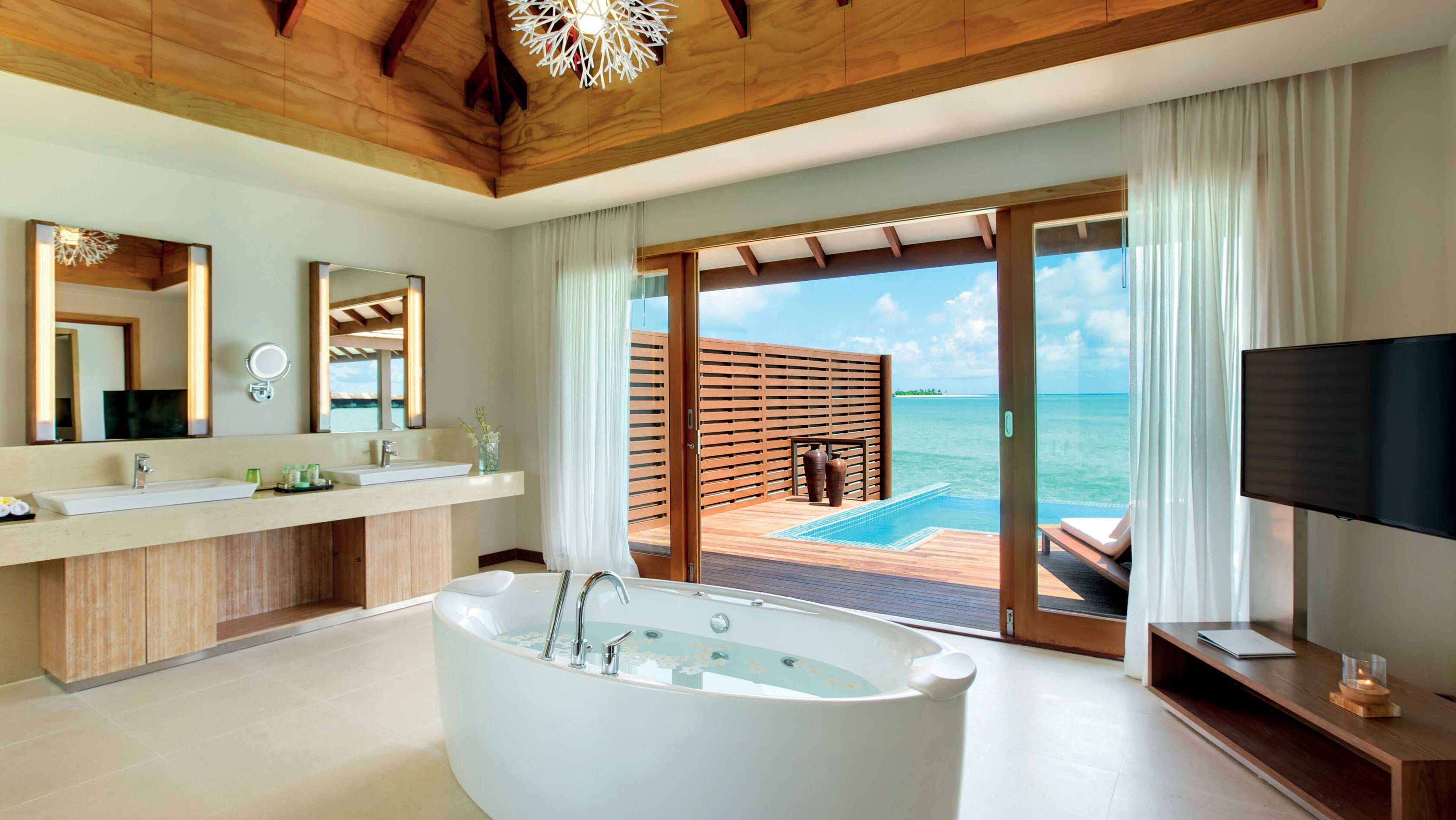 Hideaway Beach Deluxe Water Villa With Pool SDB Maldives