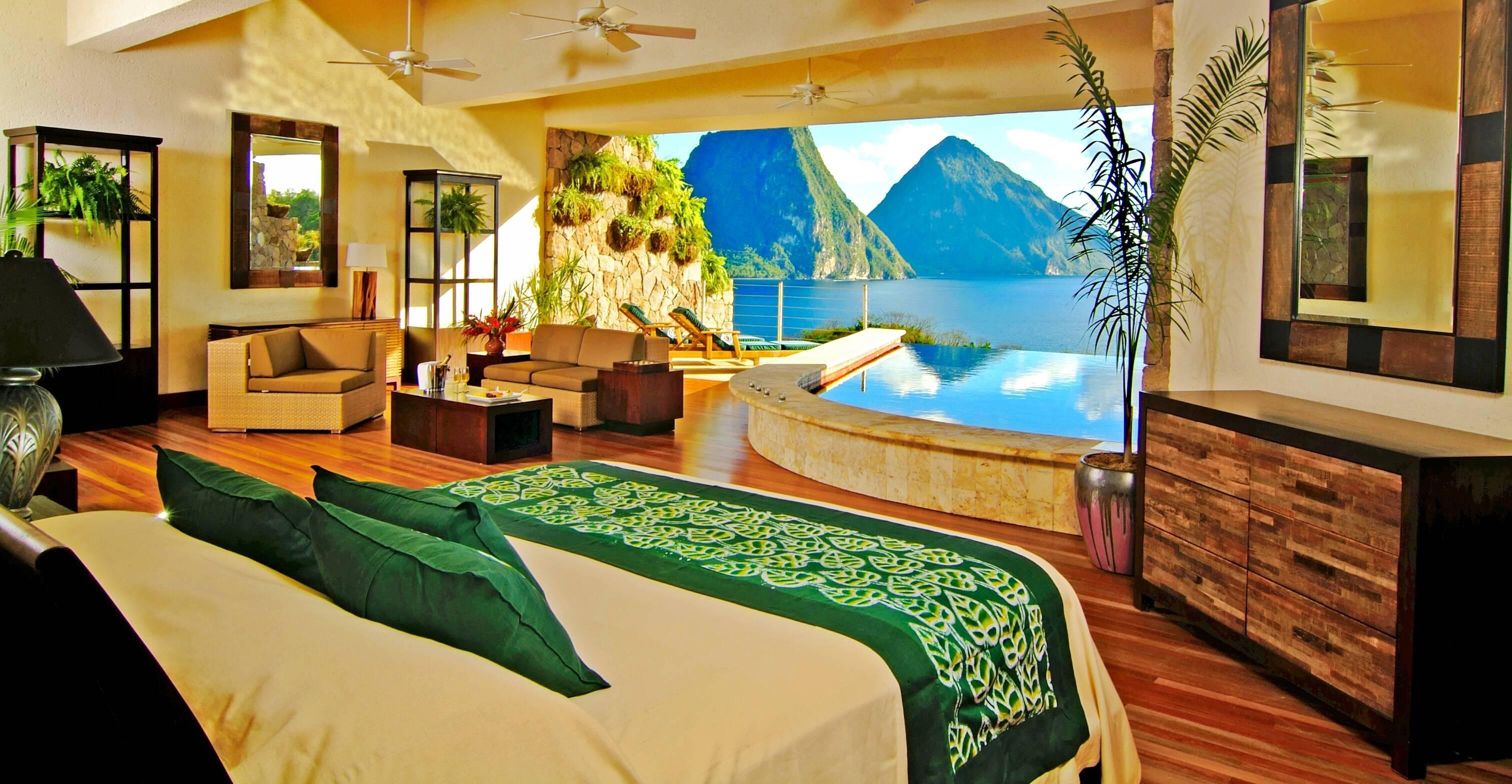 Jade Mountain Sainte Lucie chambre