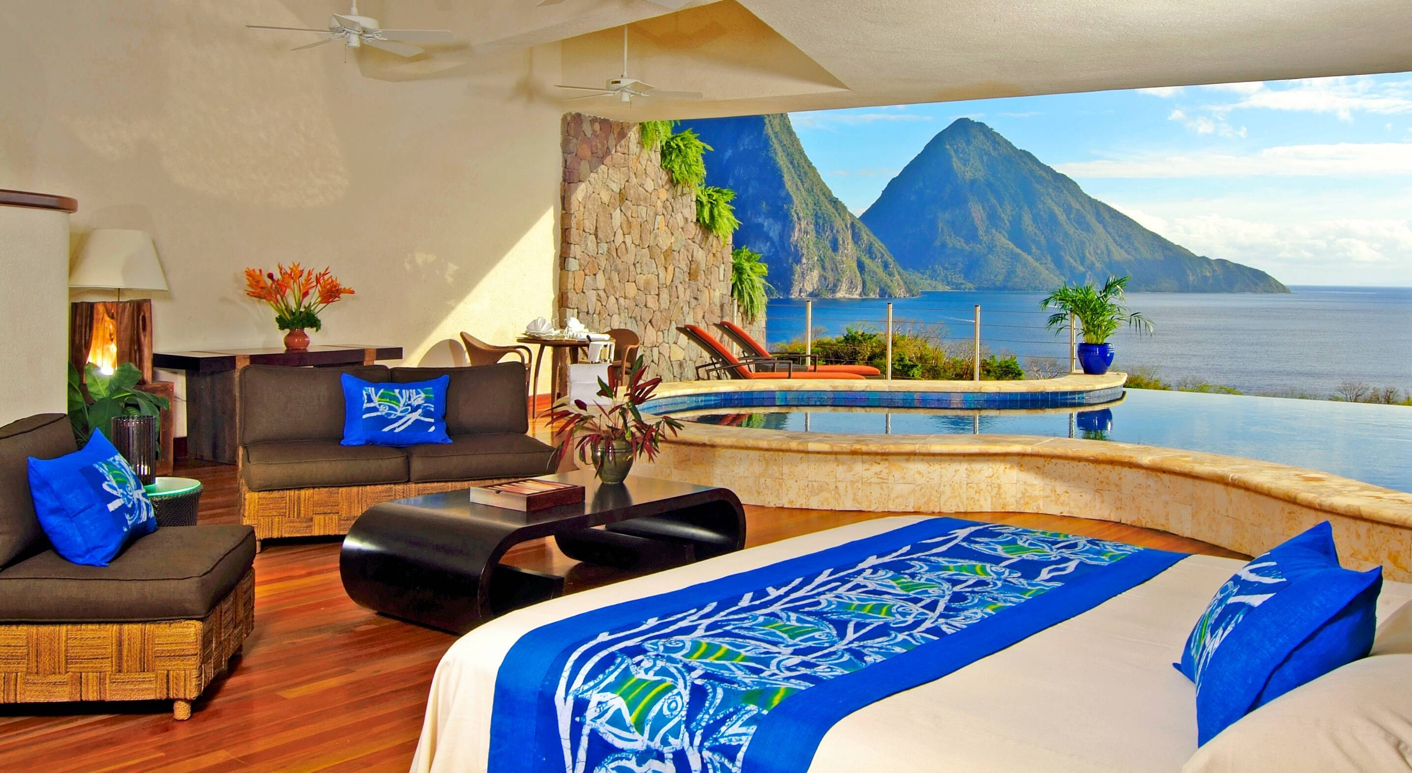 Jade Mountain Sainte Lucie moon sanctuary chambre