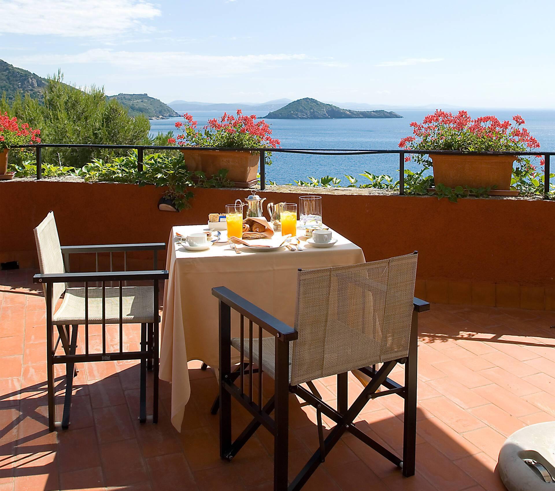 Il Pellicano Double Sea View Room Terrasse Toscane