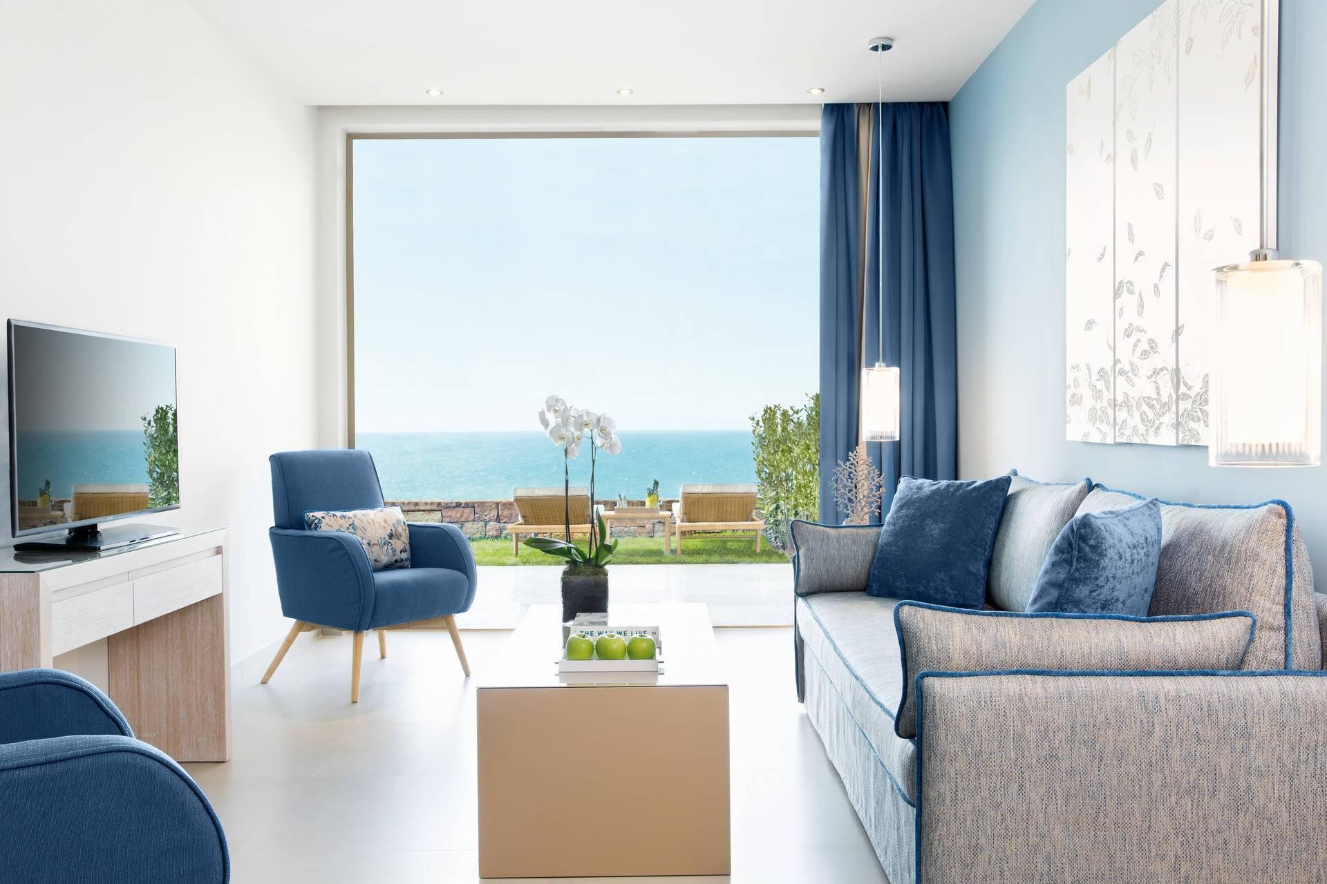 Ikos Oceania One Bedroom Family Suite Living Grece