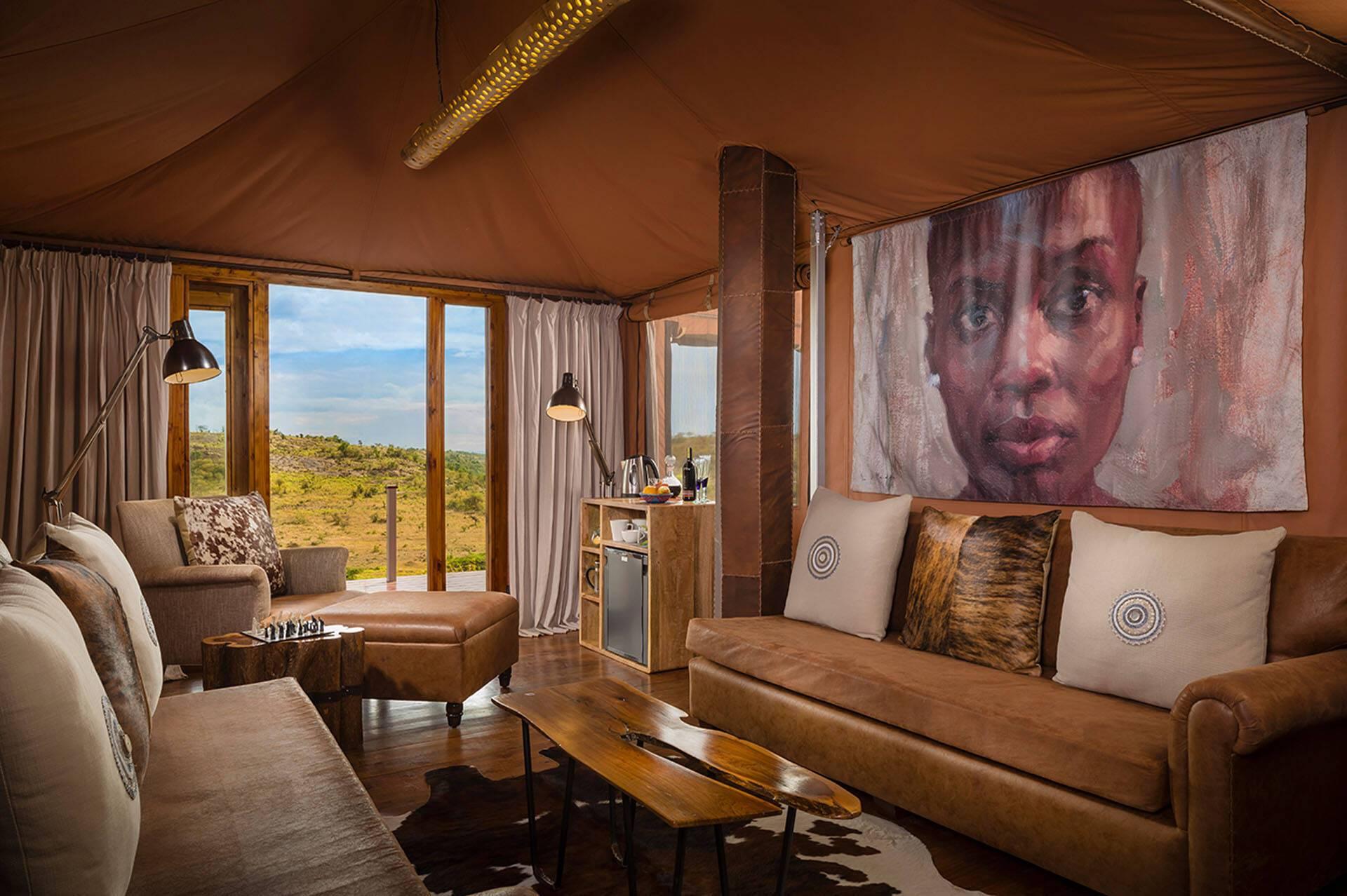 Mahali Mzuri Kenya Virgin Family Tent living room