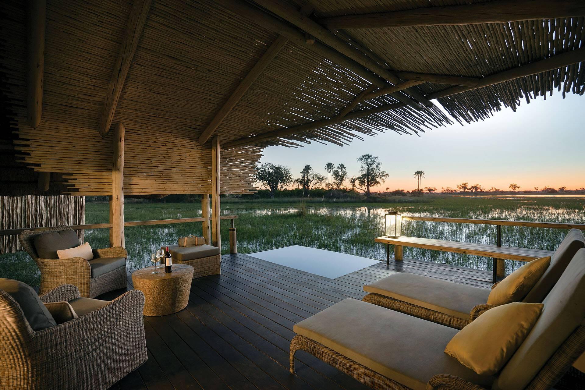 Belmond Eagle Island Lodge Okavango Terrasse Botswana