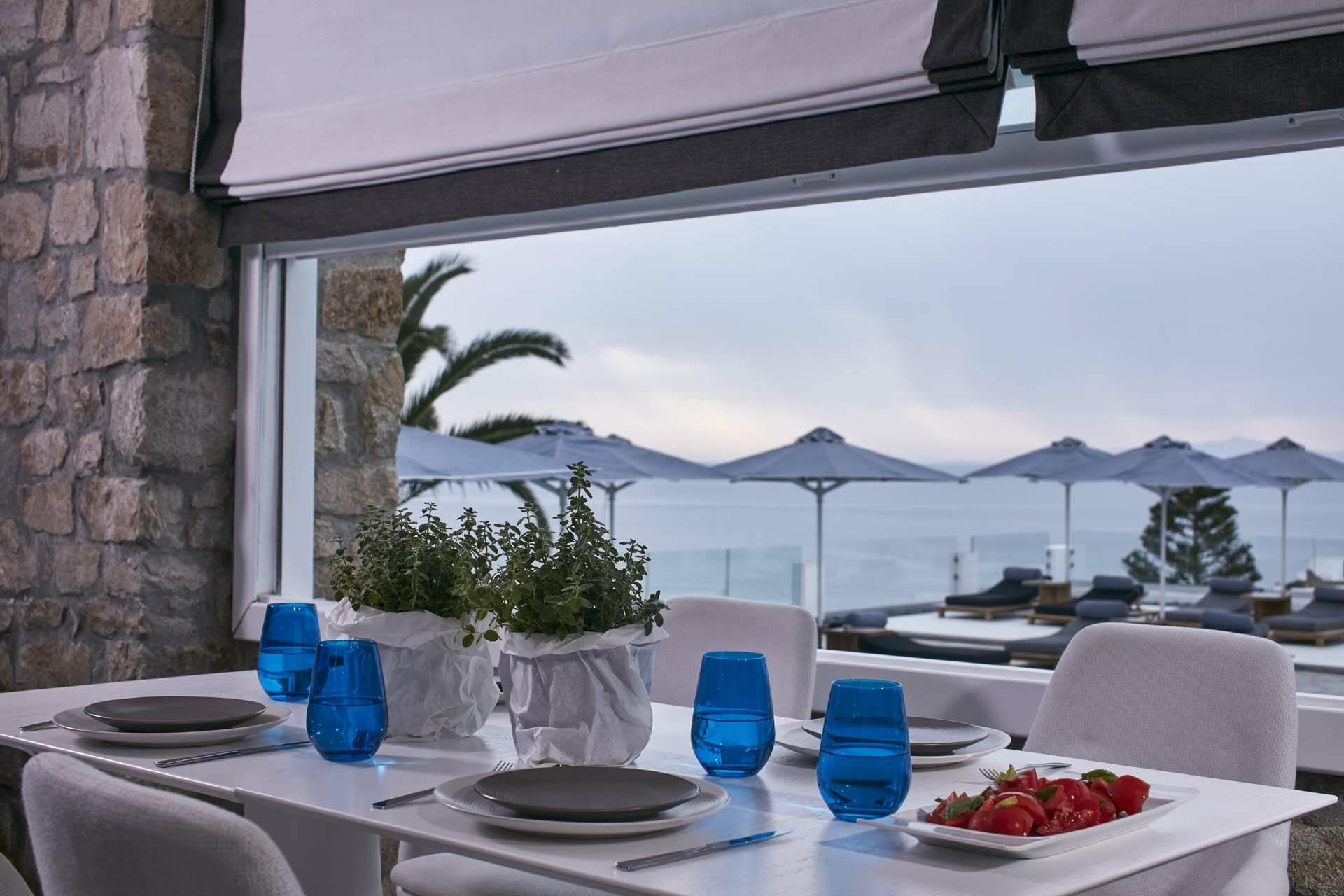Myconian Ambassador Mykonos restaurant table